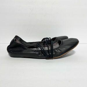Tsubo Honnor Black Leather Ballet Flats